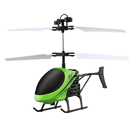 (RC Helicopter Flying Mini Infrared Induction Aircraft Remote Control Drone Flashing Light Toys for Kids Green, M (6.8 x 1.18 X 4.33 in))