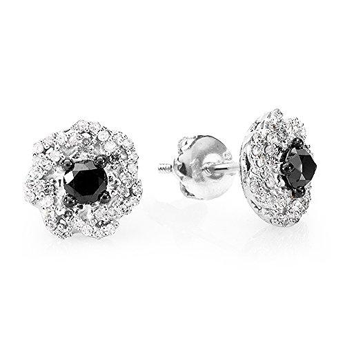 0.40 Ct Tw Round Diamonds - 0.40 Carat (ctw) Sterling Silver Black & White Round Diamond Ladies Swirl Stud Earrings