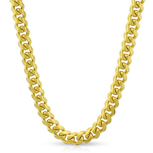10k Yellow Gold 5mm Solid Miami Cuban Curb Link Necklace Chain 20'' - 30'' (24) by In Style Designz