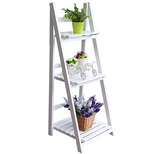 Homgrace Flower Stand Rack Shelf 4 Tier Outdoor Wooden Garden Home Flower Balcony Shelf Ladder Display Free Standing Folding Flower Shelf Dish Rack (White 3 Tier) by Homgrace