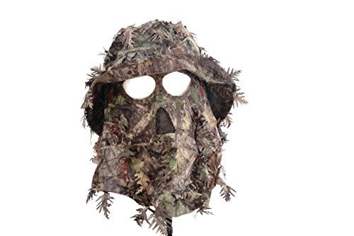 Mossy Oak Obsession Camouflage 3D Leafy Bucket Hat with Hunting Face Mask Combination (58 cm) (Navy Seal Beanie Hat)