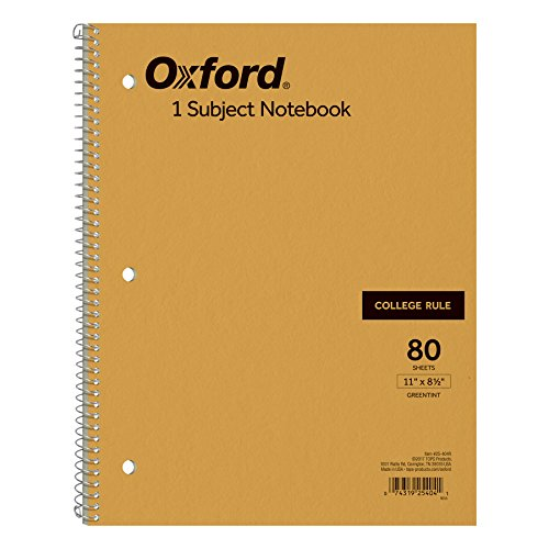Ampad Single Wire Notebook, Size 11 x 8-1/2, 1 Subject, Tan Cover, College Ruled With Margin Line, Greentint Paper, 80 Sheets Per Notebook (25-404)
