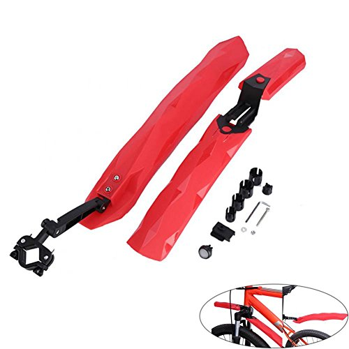 Adjustable Bicycle Fenders Set Front/Rear Mudguard MTB Road Mountain Bike Mud Guard Fender Set Cycling Tyre Tire Mudguard with LED Taillight (Red)
