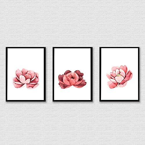 Floral Print, Flower Print, Watercolor Pastel Flower Art, Floral Nursery Art, Pink Collection of Poppies, Peonies and Ranunculus, Watercolor Florals, Printable Wall Art - Set of 3-8x10 - Unframed from Hadora