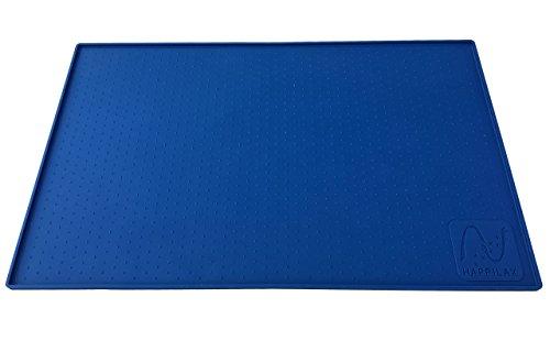 Premium Napfunterlage aus Silikon für Hunde und Katzen mit extra hohem Rand und Noppen in zwei Größen | Happilax (L (60 x 40 cm))