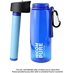 HiComPure - A Water Bottle with 2 stage filter, double the water purification, top rated water filters, the water bottle is easy to attach everyday use, come with a complementary survival bracelet