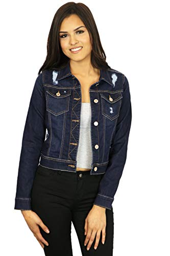 StyLeUp Women's Classic Casual Vintage Denim Jean Jacket/Vest Regular & Plus Size (90126 DK S)