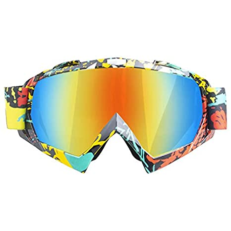 Ocamo Unique Motorcycle Cross-country Goggles Cycling Ski Goggles Glasses for Outdoor Sports QR code frame - silver lens