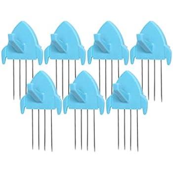 Panel Wall Clip Por Fabric Panels Paper Wall Metal Pin Cubicle Hooks Key Hangers 7pcs (Blue)