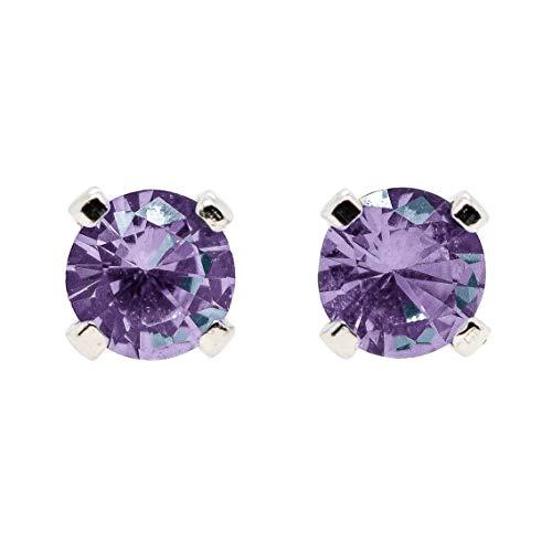 Large 6mm Color Changing Light Purple to Green Alexandrite Gemstone Stud Earrings in Sterling Silver - June Birthstone