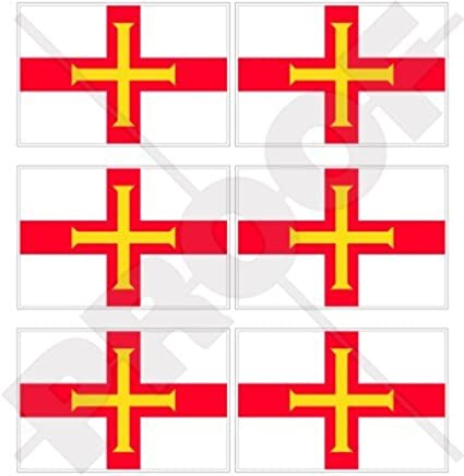 Decals x6 1,6 GUERNSEY Flag Channel Islands UK 40mm Mobile Cell Phone Vinyl Mini Stickers