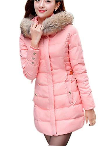 Veste Elegant Long Blouson Hiver Jacket Ghope Chaud Femme Ou Mid Automne Doudoune Hoodie Fausse À long Veston Parka Manteau Pink Coat Fourrure Capuche wqnqvz48
