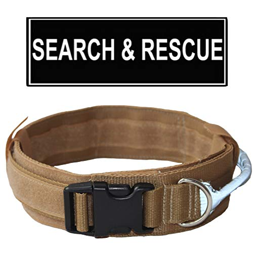 haoyueer Tactical Dog Collar Military Training Nylon Adjustable Dog Collar with Control Handle Patch for Medium Large Dog Necklace Pitbull Doberman Sizes M L(Khaki,M)