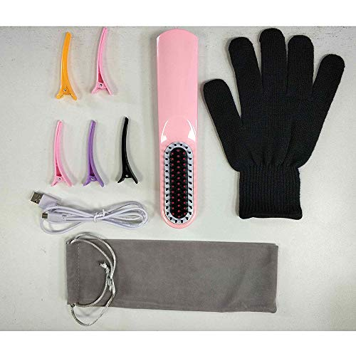 DOMAVER Beard Straightening Brush, Cordless USB Rechargeable Travel Ceramic Brush Hair Straightener for All Hair Types - Pink]()