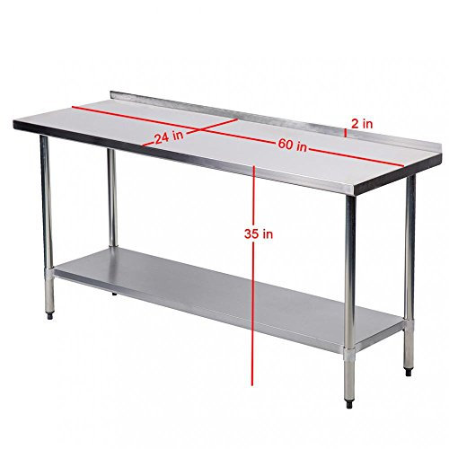 24 X 60 Inch Stainless Steel Work Table with Backsplash Kitchen Restaurant Table