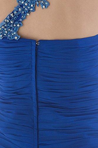 mit Blau Vorderabendkleid SchulterChiffon Ein BRIDE Split GEORGE Perlen YH0BIwBq