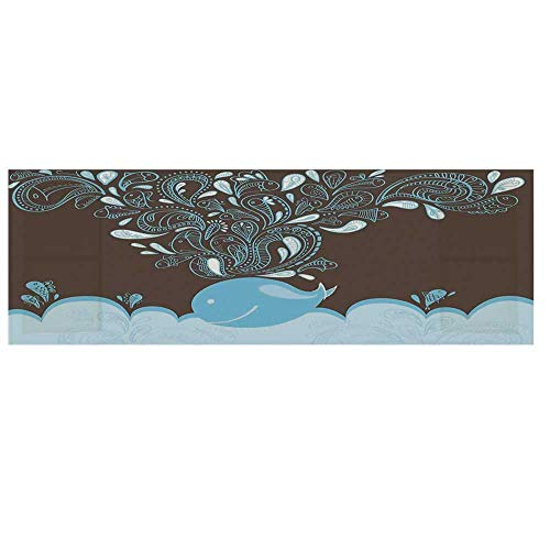Whale Microwave Oven Cover,Baloon Like Whale in The Ocean with Bubbles Cartoon Batik Tribal Style Cover for Kitchen,36