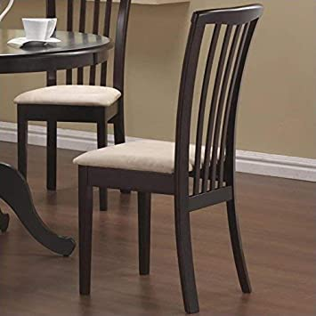 Amazon Com Brannan Slat Back Side Chairs With Upholstered Seat Cappuccino And Cream Set Of 2 Chairs