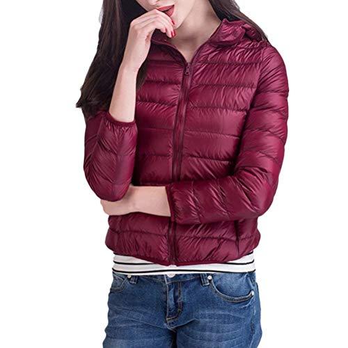 Outdoor Packable Transizione Slim Rosso Incappucciato Donna Eleganti Leggero Giacca Di Casual Piumino Cappotto Moda Fit Corto Lunga Vintage Manica Scuro Piumini 85XqZHxw