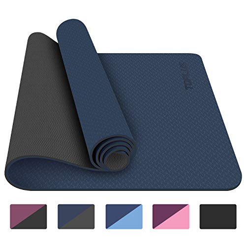 TOPLUS Yoga Mat - Classic 1/4 inch Pro Yoga Mat Eco Friendly Non Slip Fitness Exercise Mat with Carrying Strap-Workout Mat for Yoga, Pilates and Floor Exercises (Navy Blue) (Exercise Equipment Mat Blue)