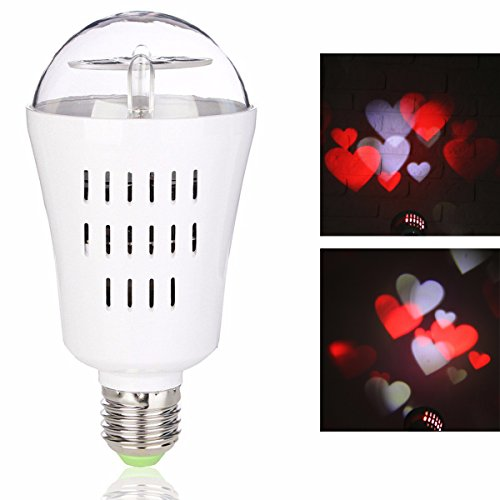 Jeteven LED Projector Light Bulb, Auto Rotating Projection Night Lamp 4W 4 LEDs E27 Base for Valentine's Day Wedding Holiday Party DJ Disco Stage Show Home Decoration Red White Heart
