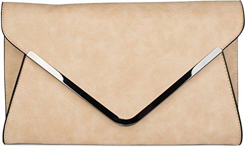 styleBREAKER envelope clutch, envelope sleeve evening bag with shoulder strap and wrist strap, ladies 02012047, Color Camel Beige