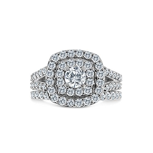 2.00ct Cushion Halo Diamond Engagement Wedding Ring Set 10K White Gold ()