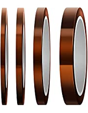 LUTER Hittebestendige tape, polyimide, hittebestendige tape, 4 rollen voor sublimatieafdrukken, golven solderen, 3D-printer (3 mm / 5 mm / 8 mm / 12 mm x 33 m, Tawny)