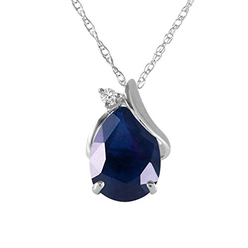 2.53 Carat 14k Solid White Gold Necklace with Natural Diamond and Pear-shaped Sapphire