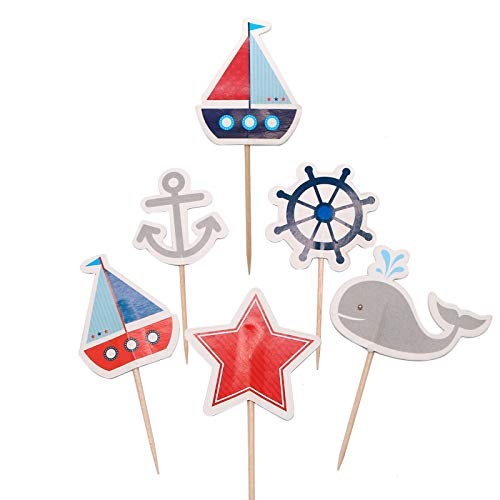 WSSROGY 48 PCs Nautical Cupcake Toppers Cake Toppers Whale Cake Decorations for Baby Shower Wedding Birthday Party Decoration Supplies