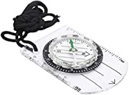 Transparent Camping Compass, Compact Sighting Compass with Lanyard for Camping for Hiking for Mountaineering