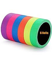 Nastro adesivo in tessuto impermeabile fluorescente / neon ,Bagliore reattivo Blacklight UV nel nastro scuro(0,5 x 16,5 piedi) 6 pezzi