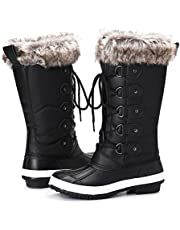 gracosy Waterproof Snow Boots for Womens Winter Fur Lined Warm Mid-Calf Boots Outdoor Skiing Knee High Boots Ladies Comfort Hiking Walking Boots Lace up Anti Slip Snow Rain Boots Shoes Size 3-7 UK