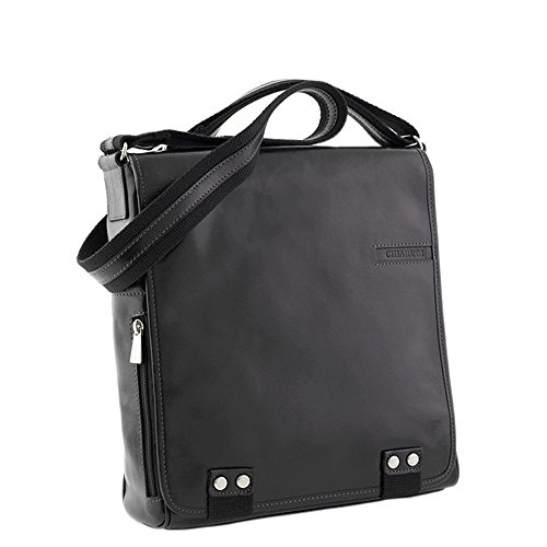 Bolsa de mensajero de cuero italiano Chiarugi (marrón) negro
