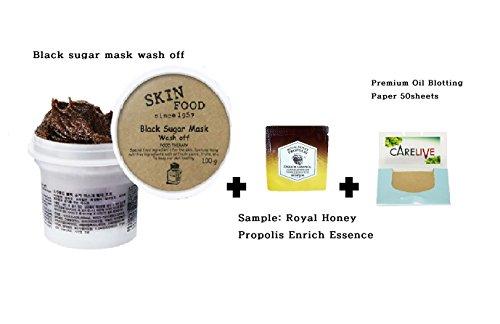 Black Sugar Mask Wash Off 3.53Oz/100g +  + Premium Oil blot