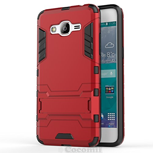 Galaxy J2 Prime Case, Cocomii Iron Man Armor NEW [Heavy Duty] Premium Tactical Grip Kickstand Shockproof Hard Bumper Shell [Military Defender] Full Body Dual Layer Rugged Cover Samsung (Red)