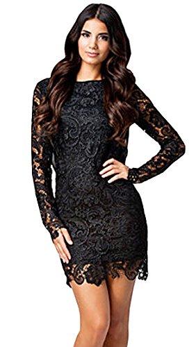 Damen Fashion Spitze Chiffon Stitching Kleid Rückenfreies Abend Cocktail Partykleid Langarm Paket-Hüfte-Kleid (S, Schwarz)