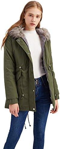 LFANH delle Donne Inverno Caldo Cappotto con Cappuccio Soprabito, Fleece Jacket Outwear Coulisse Casual Cappotto Pesante, Oversize in Pelliccia Giacca Collo,Verde,XXXL