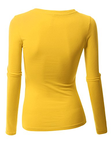 062c8a157787c Doublju Womens Long Sleeve Strap Comfy YELLOW Lady Top