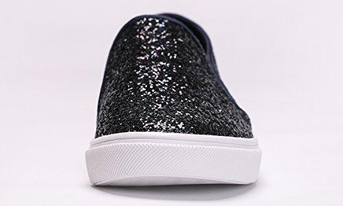 Women's NAVY Slip Feversole GLITTER Fashion Sneaker On fdwXO7qX8