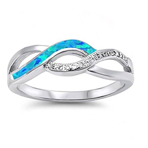 Ring Blue Opal Lab (Lab Created Blue opal Twisted Band Infinity .925 Sterling Silver Ring size 7)