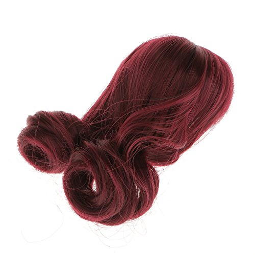 Wig Doll Antique (Dovewill Fashionable Long Curly Hair DIY Doll Wig FOR BJD SD 1:3 Scale Girl Dolls Wine Red)
