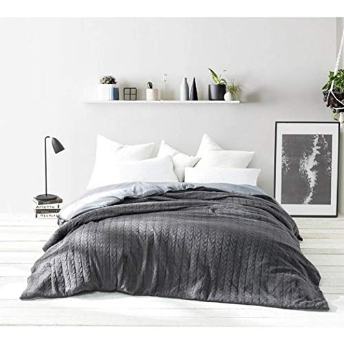 Classic Tall Stripe Cable - 1 Piece Dark Grey Cable Knit Pattern Comforter King Size, Elegance Classic Texture Stripes Design, Super Soft & Cozy Bedding, Casual Style, Solid Color, Microfiber, Polyester, for Unisex