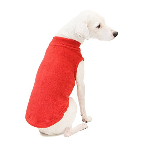 Gooby - Stretch Fleece Vest, Pullover Fleece Vest Jacket Sweater Dogs, Red, ()
