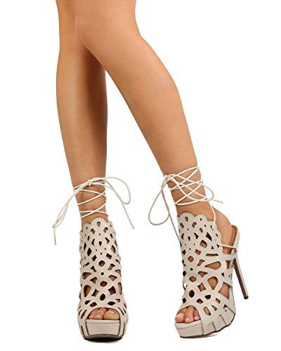 DbDk Women Leatherette Tie up Peep Toe Cutout Platform Stiletto Sandal EH89 - Nude (Size: 8.0)