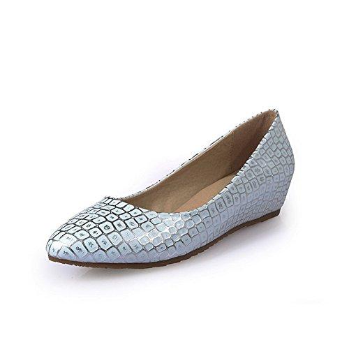Amoonyfashion Womens Zacht Materiaal Wees Gesloten Teen Lage Hakken Diverse Kleuren Pumps-schoenen Blauw