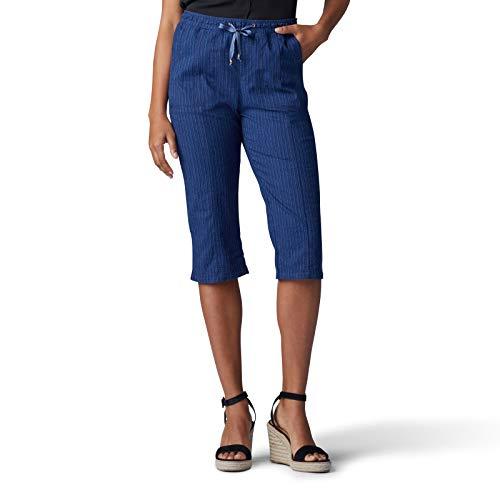 LEE Women's Flex-to-Go Relaxed Fit Pull-On Utility Capri Pant, Indigo Stripe ()