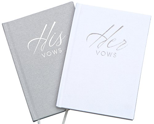Wedding Vow Book Keepsakes (2 Book Set, His & Hers) Linen Hardcover - Vow Renewal - Bridal Shower Gifts - Booklet - Journal - Future Mrs & Mr (Wedding Vows Unity Candle)
