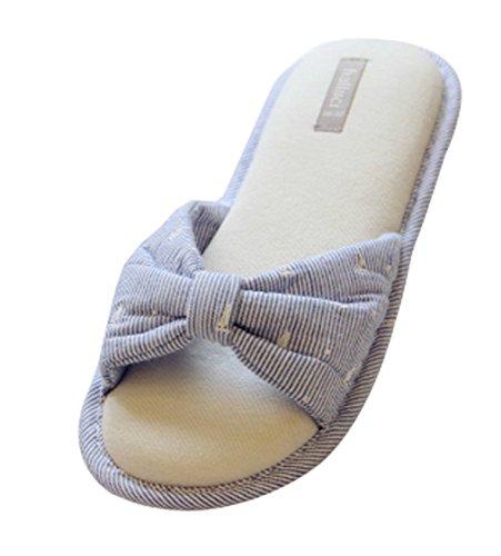 Cattior Womens Bow Open Toe Spa Slippers Bedroom Slippers Blue FMbYeG3