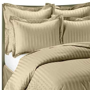 1400 Thread Count BEIGE CALIFORNIA KING Striped Luxury 8-Peices Bed-in-a-bag Set -100% Egyptian Cotton